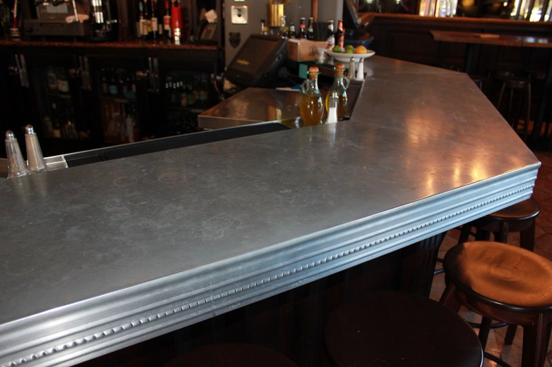 Zinc countertops guest post by joe cain of mio metals for How to build a commercial bar top