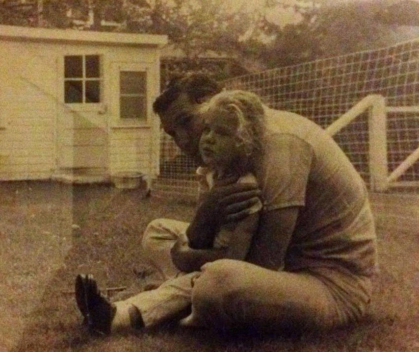 Jamie Gold, wellness design consultant, as a child with her father